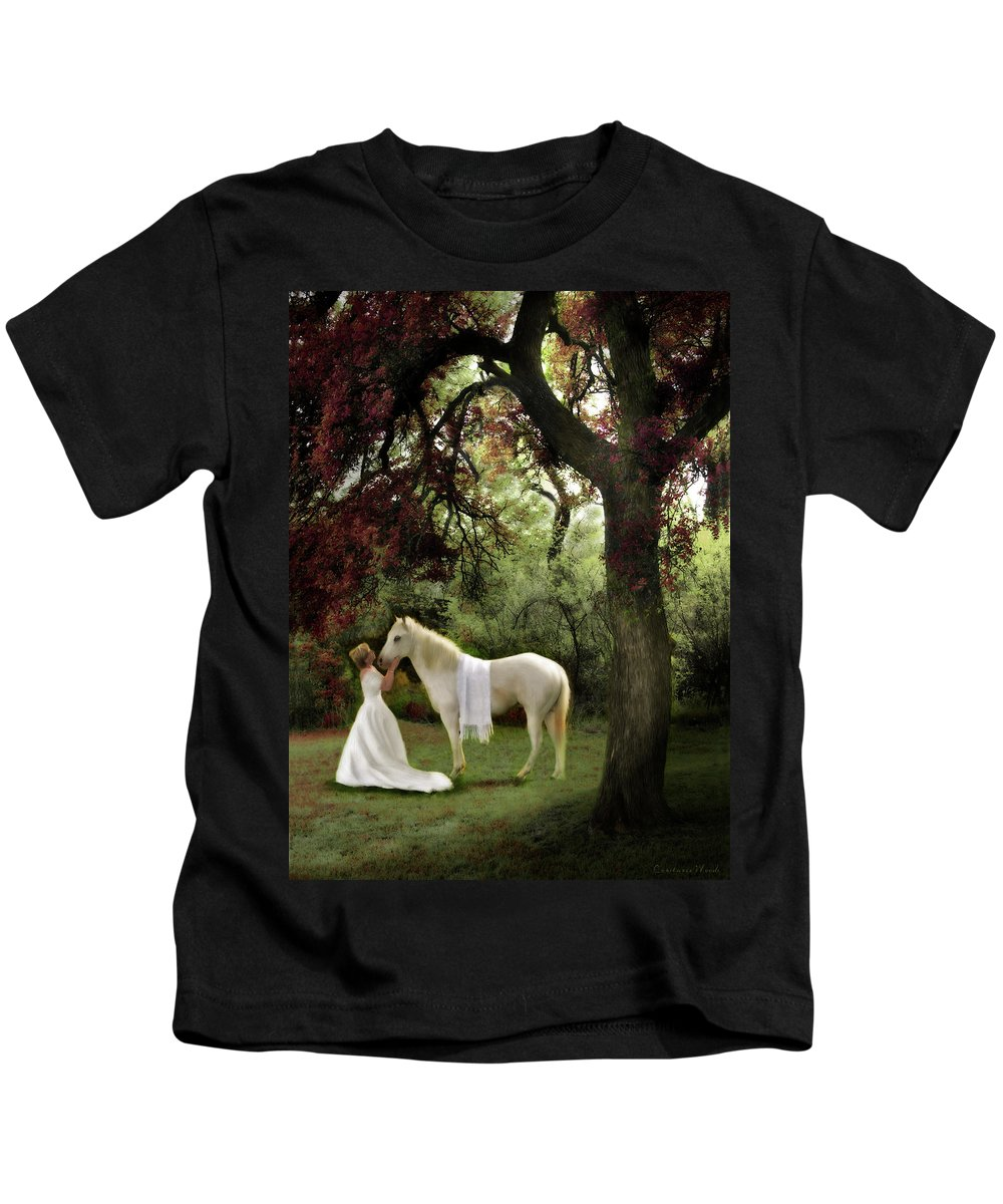 Bride Of Christ Art Kids T-Shirt featuring the painting Waiting For My Prince by Constance Woods