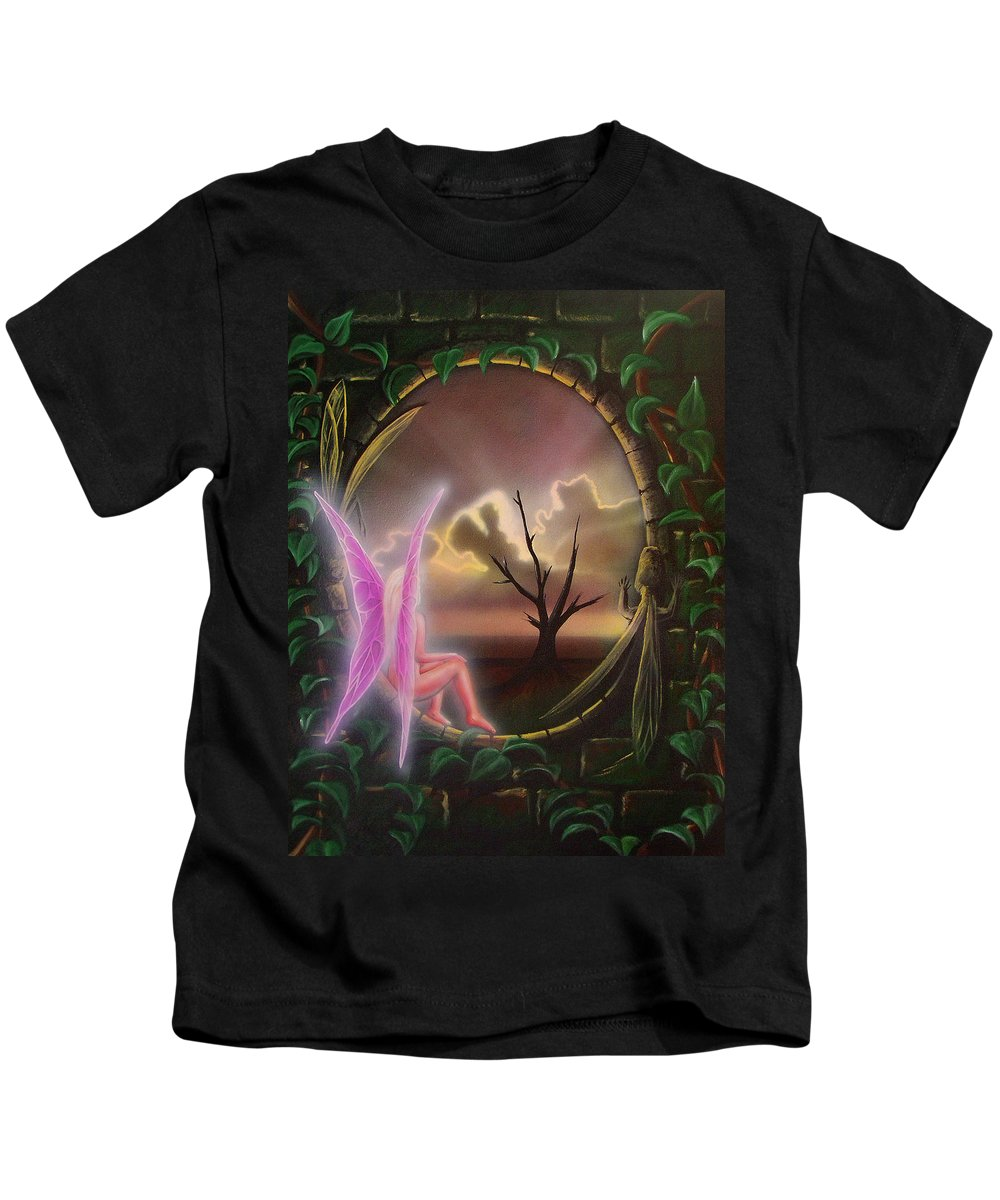 Fairy Kids T-Shirt featuring the painting Waiting For Spring by Shaun McNicholas