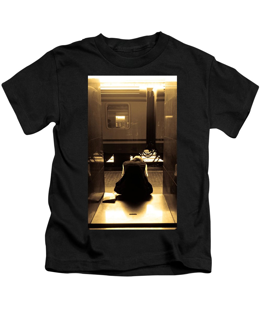 Train Kids T-Shirt featuring the photograph Waiting For The Train by Scott Sawyer