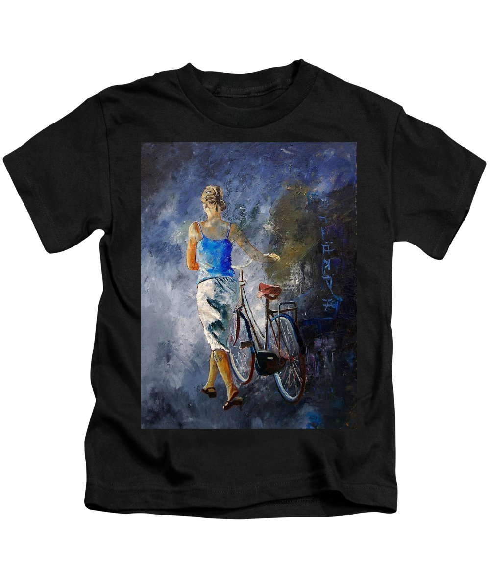 Girl Kids T-Shirt featuring the painting Waking Aside Her Bike 68 by Pol Ledent