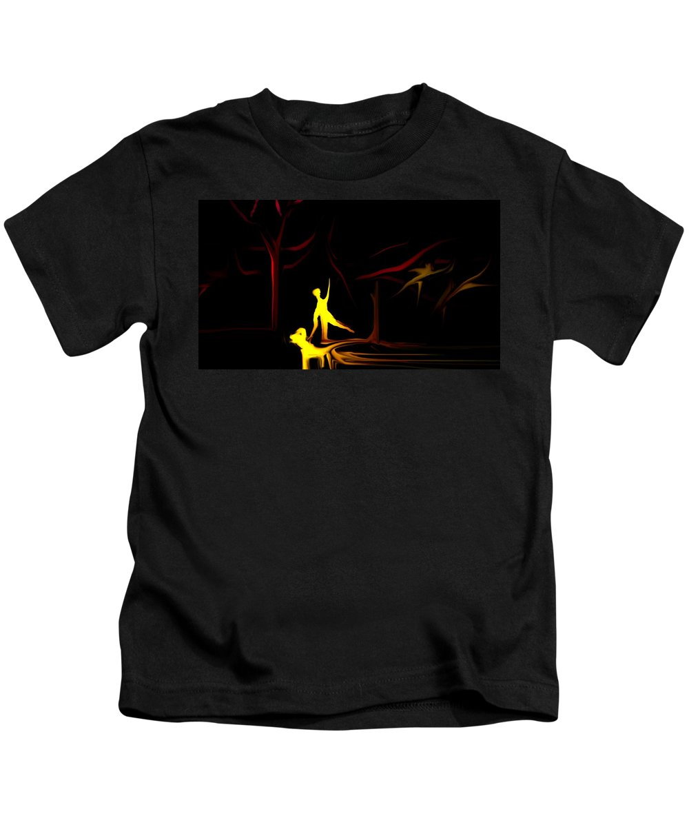 Abstract Digital Painting Kids T-Shirt featuring the digital art Walk In The Dog Park by David Lane