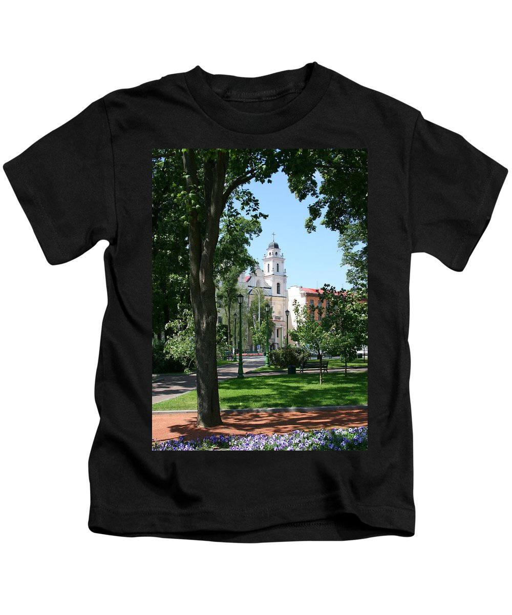 Park City Tree Trees Flowers Church Building Summer Blue Sky Green Walk Bench Kids T-Shirt featuring the photograph Walk In The Park by Andrei Shliakhau