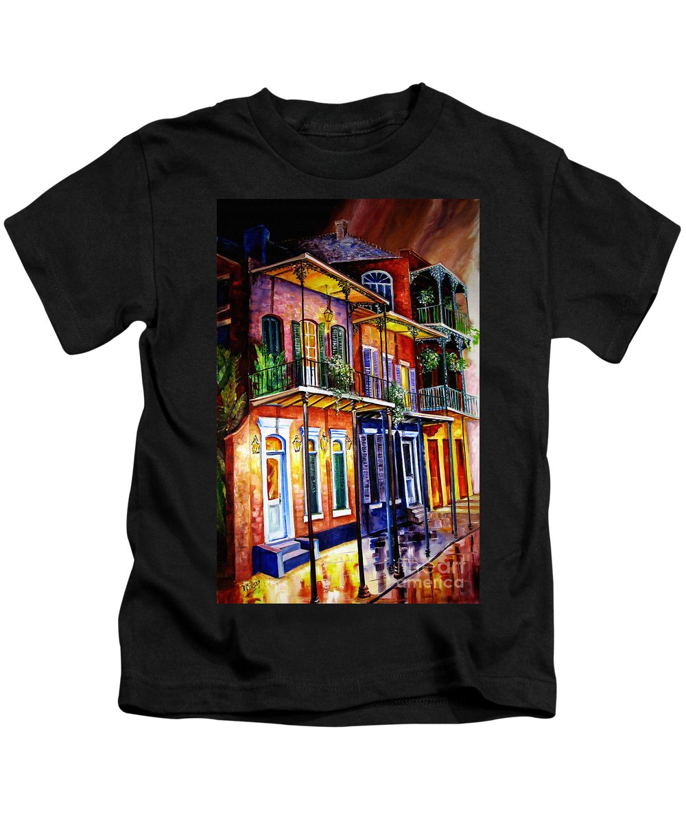 New Orleans Paintings Kids T-Shirt featuring the painting Walk Into The French Quarter by Diane Millsap