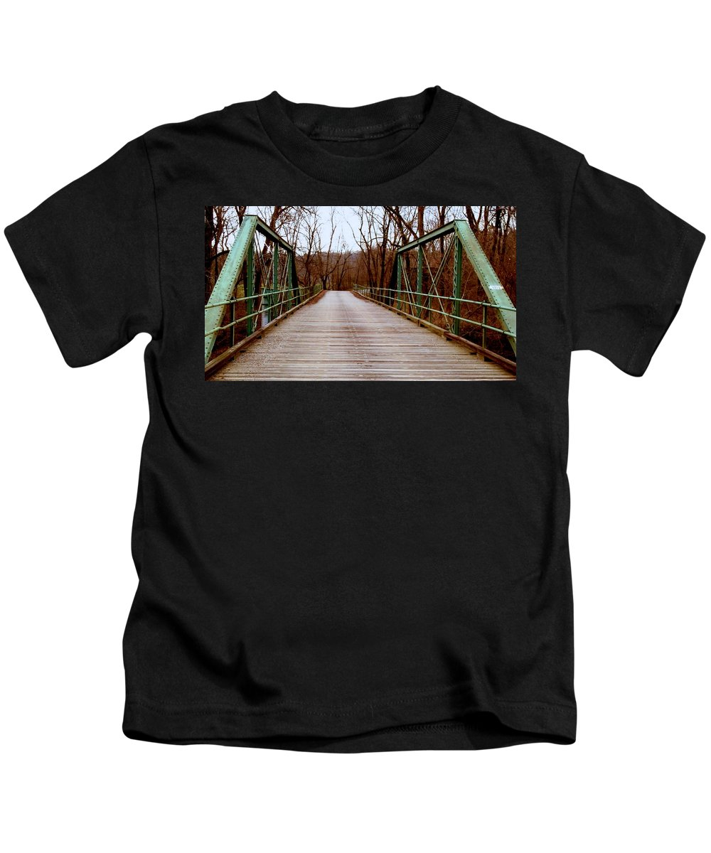 Bridge Kids T-Shirt featuring the photograph The Old Walk-or-ride Bridge by Arlane Crump