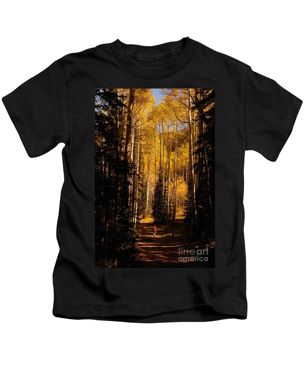 Landscape Kids T-Shirt featuring the photograph Walking With Aspens by David Lee Thompson