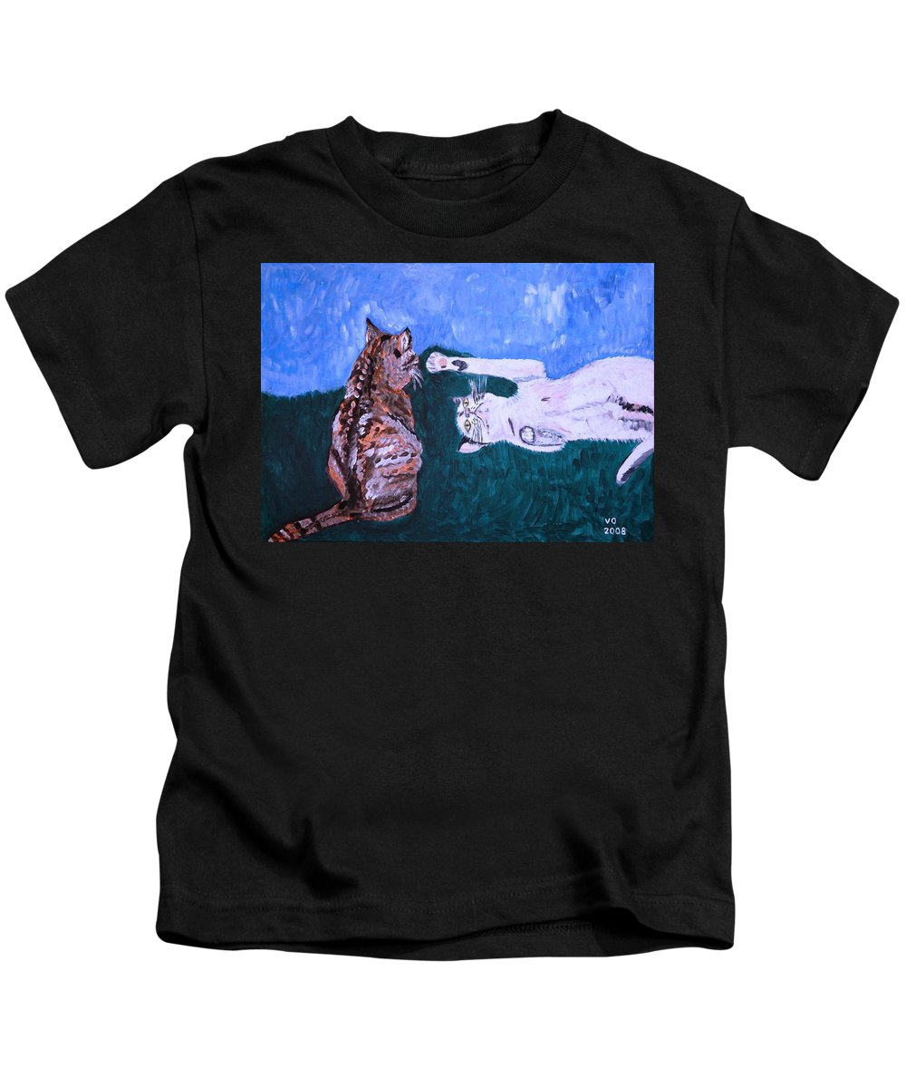 Cat Kids T-Shirt featuring the painting Want To Play by Valerie Ornstein
