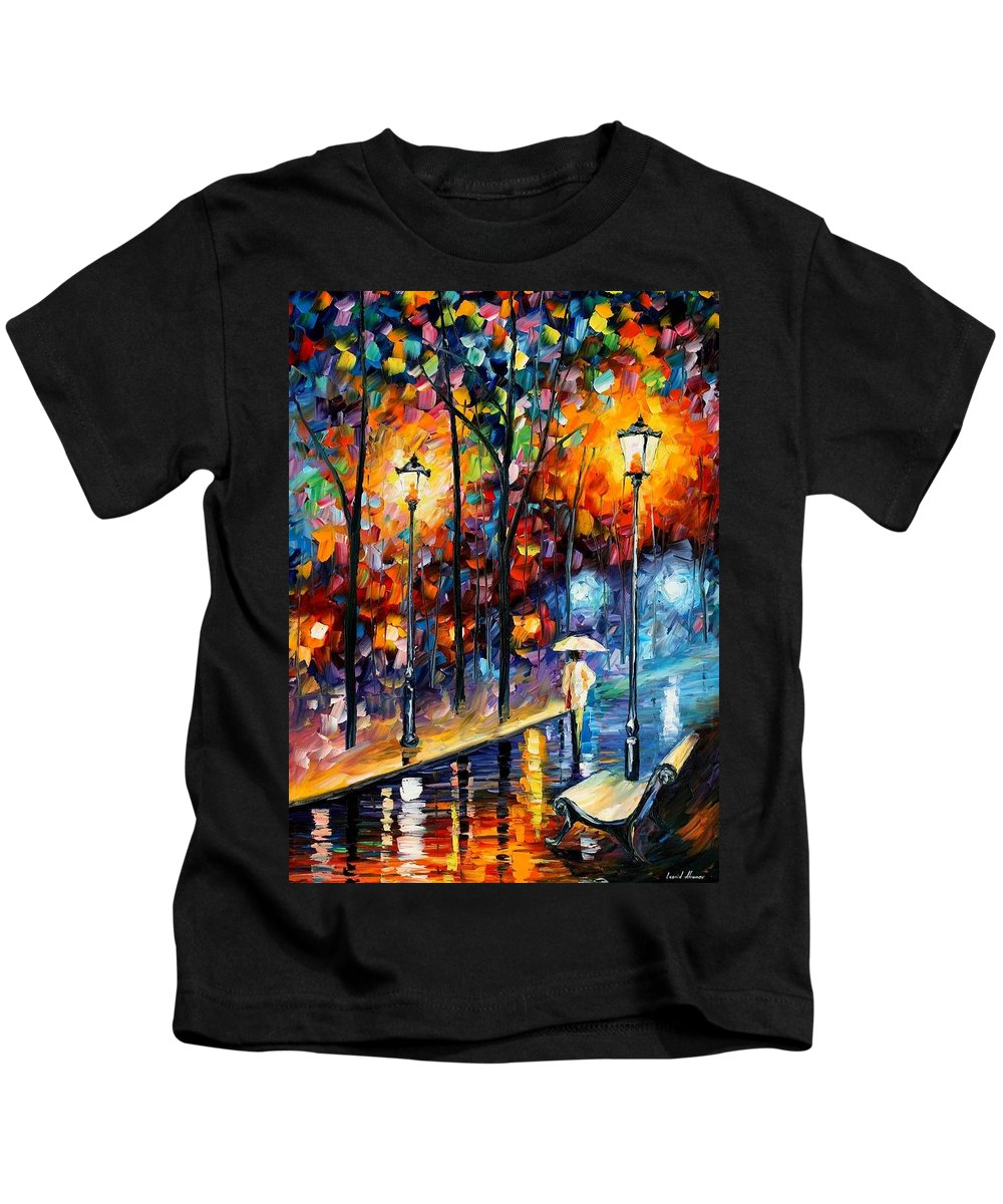 Afremov Kids T-Shirt featuring the painting Warm Winter by Leonid Afremov