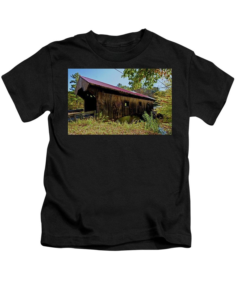 covered Bridge Kids T-Shirt featuring the photograph Warner Bridge by Paul Mangold