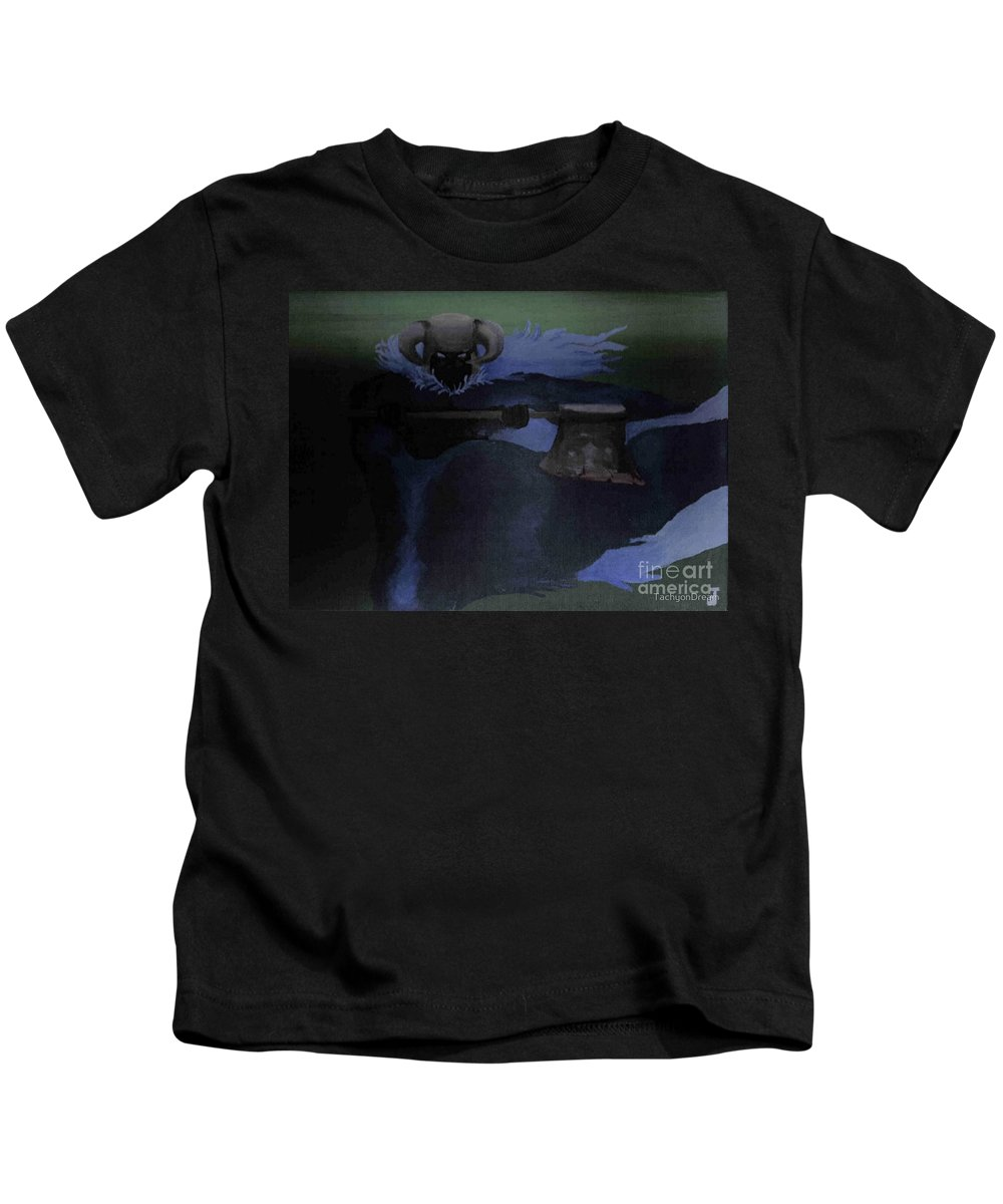 Kids T-Shirt featuring the painting Warrior Of The Dark by Dell Justice