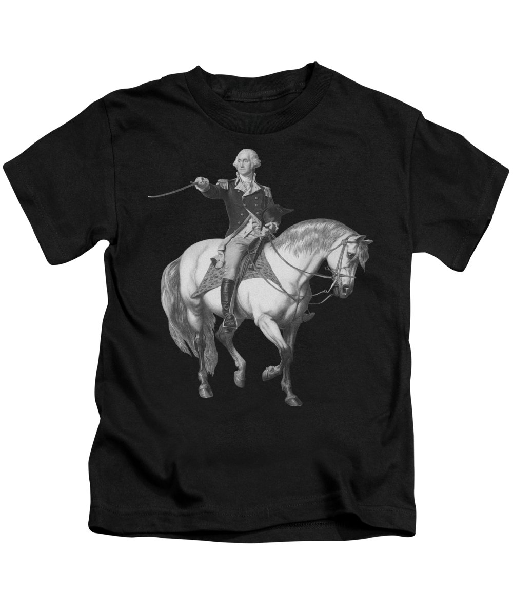 American Revolution Kids T-Shirt featuring the mixed media Washington Receiving A Salute At Trenton by War Is Hell Store