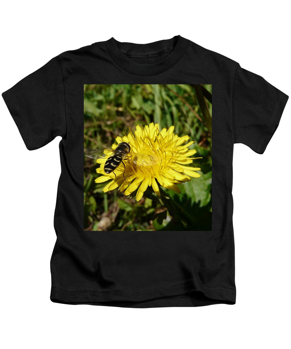 Wasp Kids T-Shirt featuring the photograph Wasp Visiting Dandelion by Valerie Ornstein