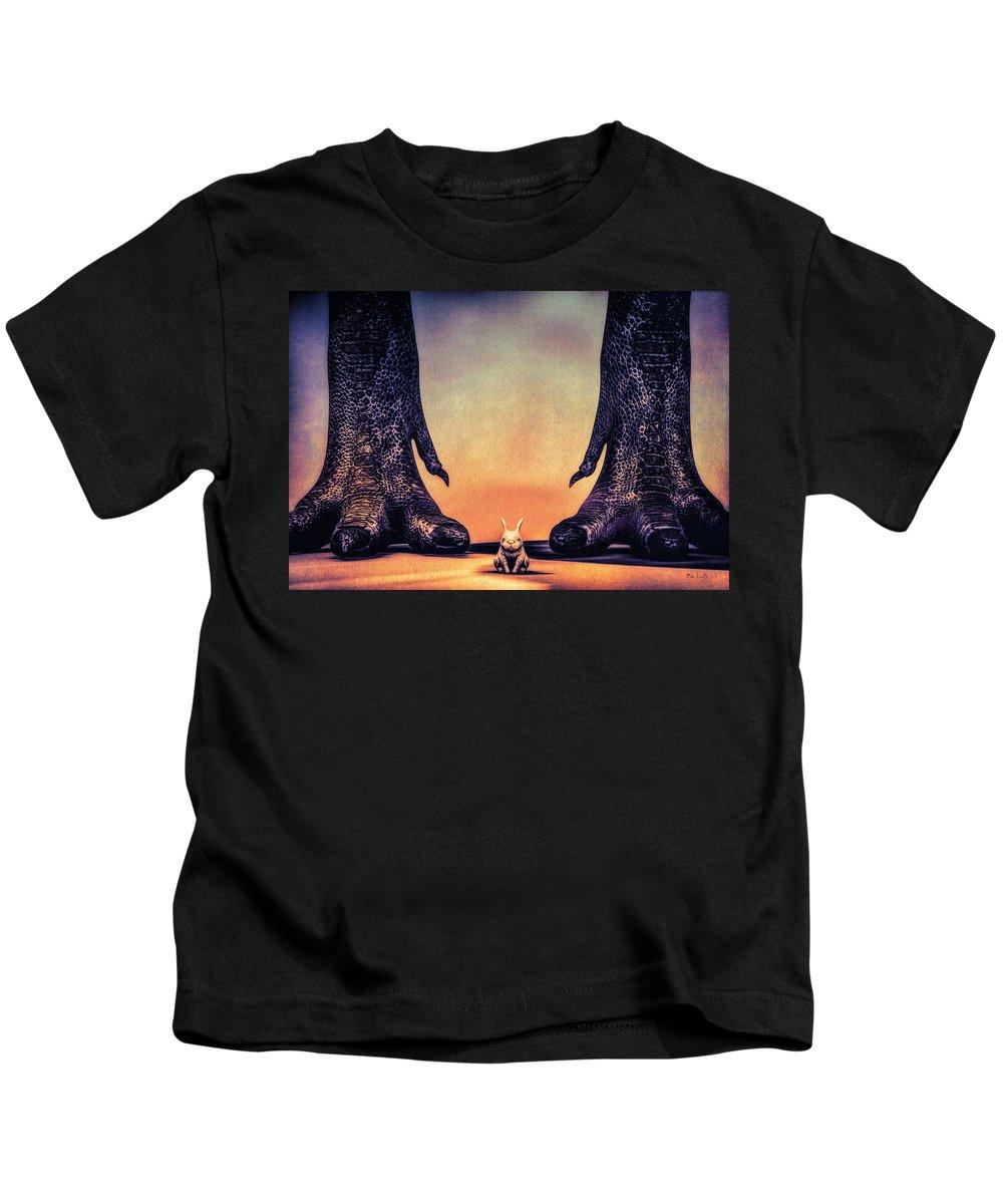 Dinosaur Kids T-Shirt featuring the digital art Watch Out Little Bunny by Bob Orsillo