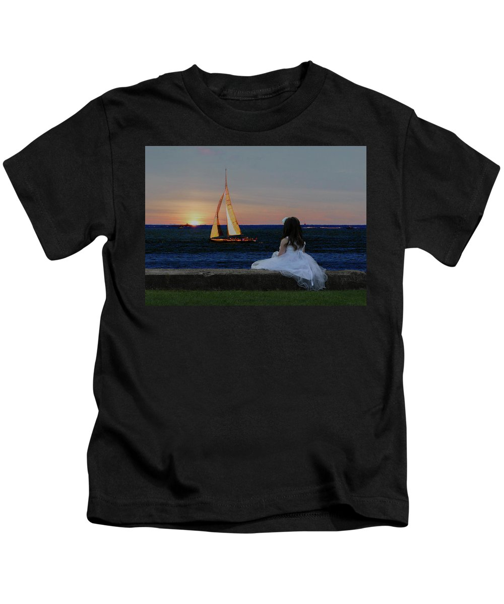 Sunset Kids T-Shirt featuring the digital art Watching The Sunset by Janet Argenta