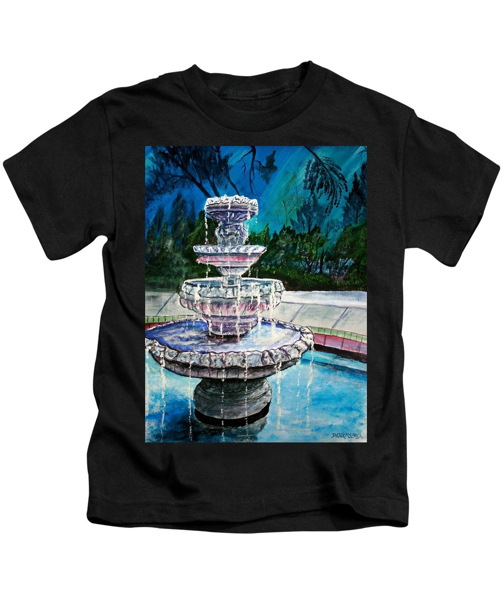 Acrylic Kids T-Shirt featuring the painting Water Fountain Acrylic Painting Art Print by Derek Mccrea