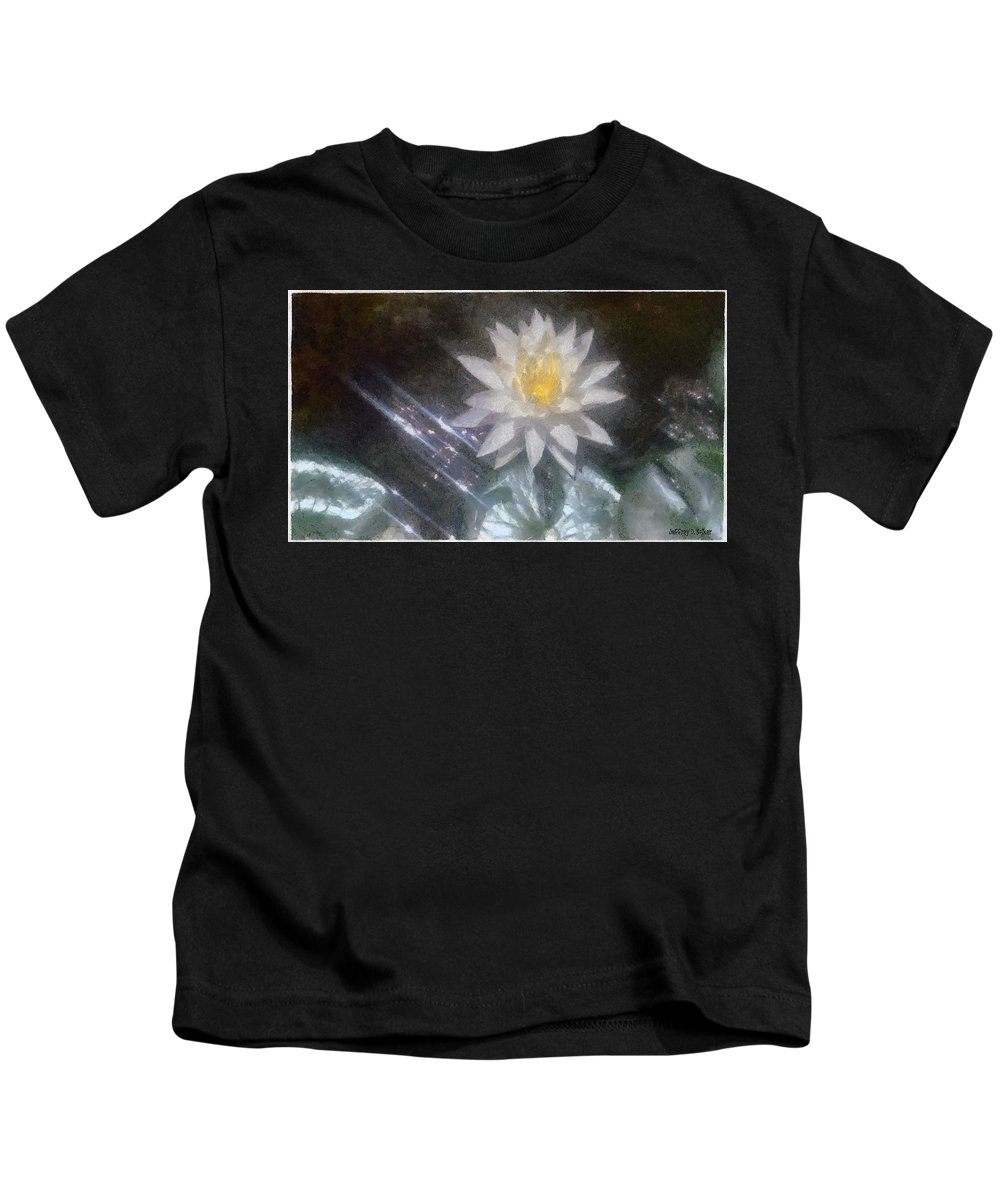 Water Lily Kids T-Shirt featuring the painting Water Lily In Sunlight by Jeffrey Kolker