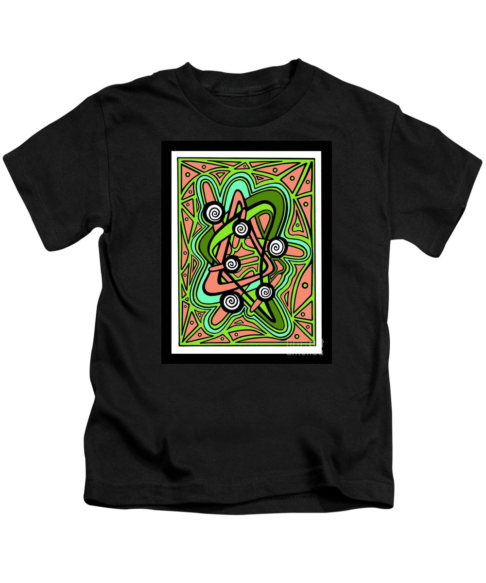 Numo Kids T-Shirt featuring the drawing Water Lily Swirl by Peter Paul Lividini