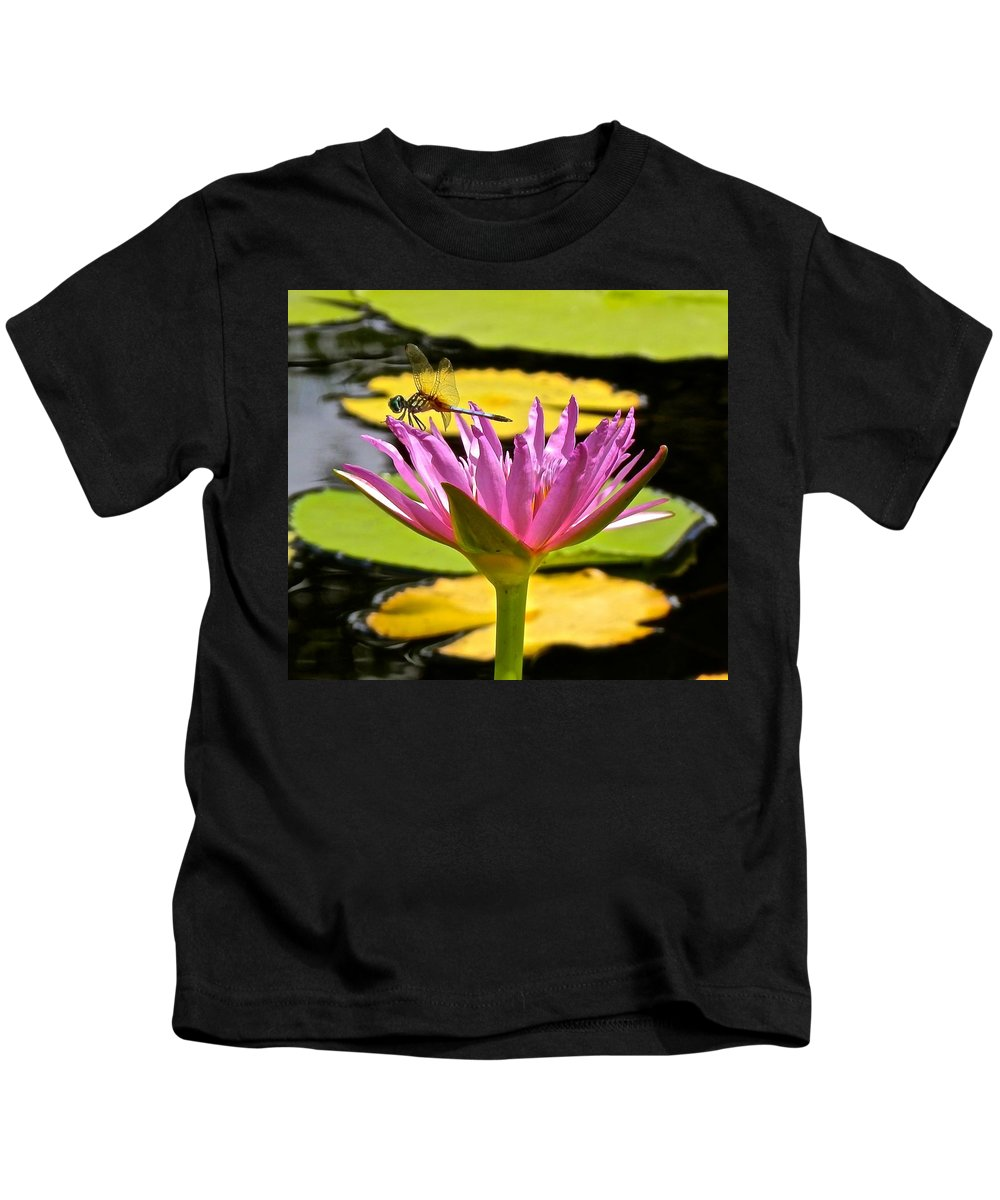 Lotus Kids T-Shirt featuring the photograph Water Lily With Dragonfly by Joe Wyman