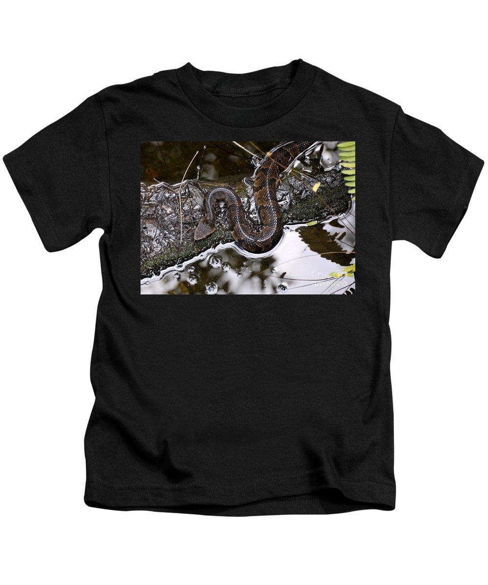 Water Moccasin Kids T-Shirt featuring the photograph Water Moccasin by David Lee Thompson