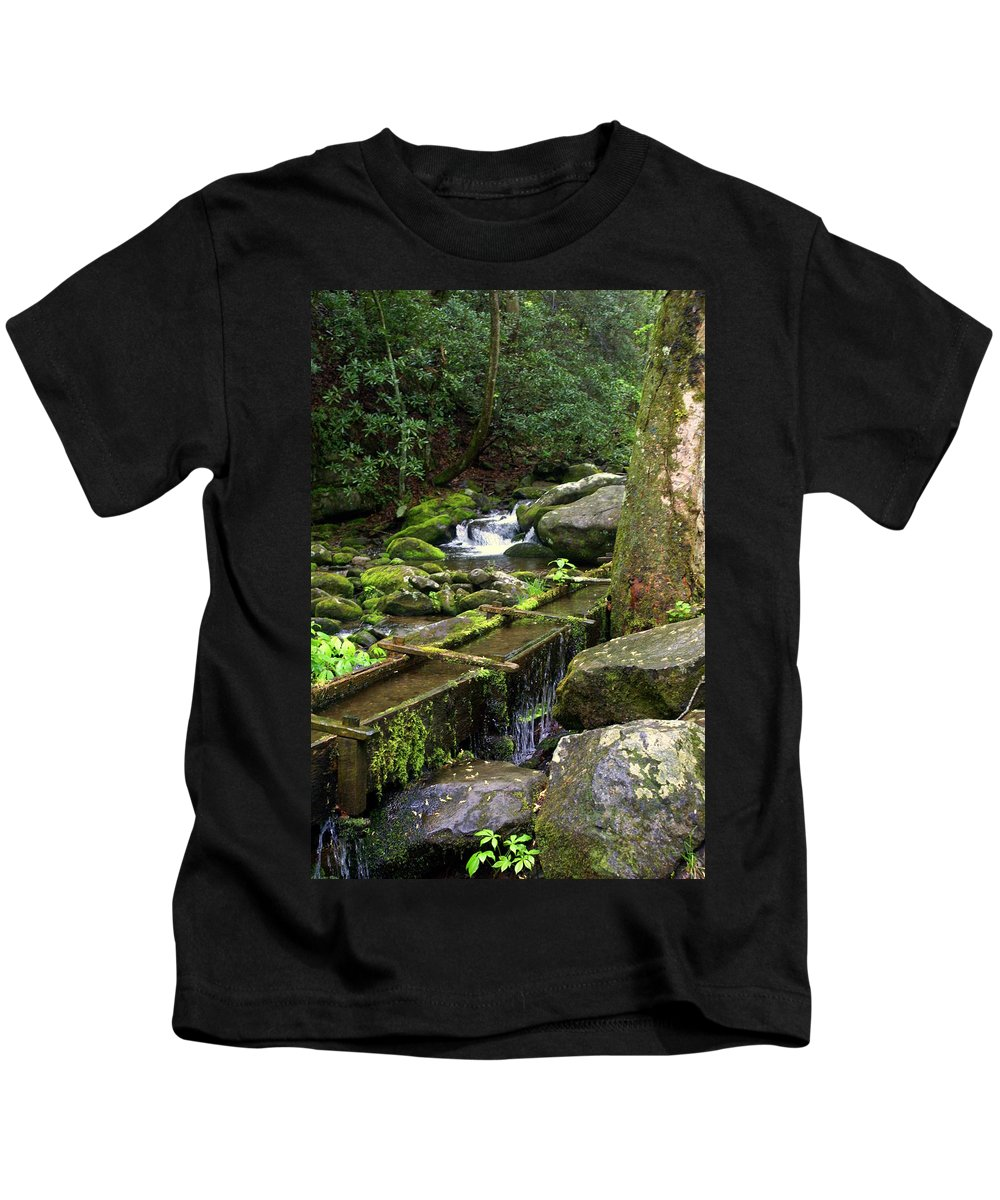 Great Smokey Mountains National Park Kids T-Shirt featuring the photograph Water Sluice by Marty Koch