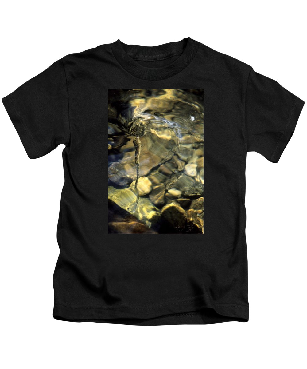 Water Creek Fourmile Canyon Spout Nature Water Rocks Colorado Kids T-Shirt featuring the photograph Water Spout by George Tuffy