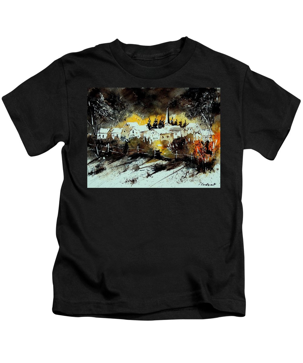 River Kids T-Shirt featuring the painting Watercolor 909072 by Pol Ledent