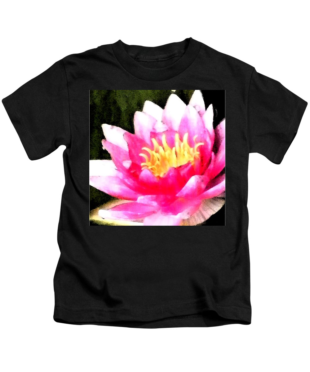 Waterlily Kids T-Shirt featuring the digital art Watercolor Waterlily by Barbara Griffin