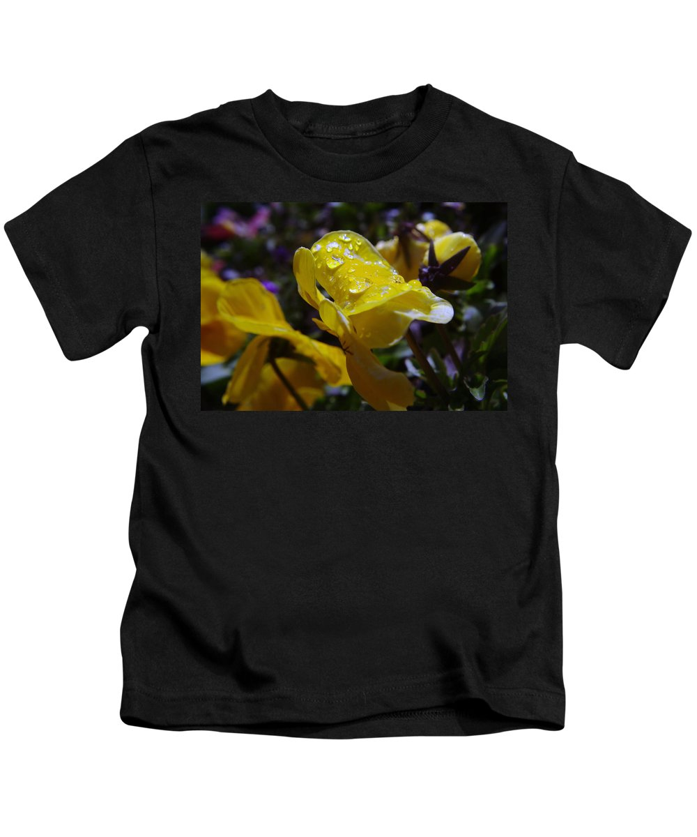 Floral Kids T-Shirt featuring the photograph Waterdrops On A Pansy by Jeff Swan