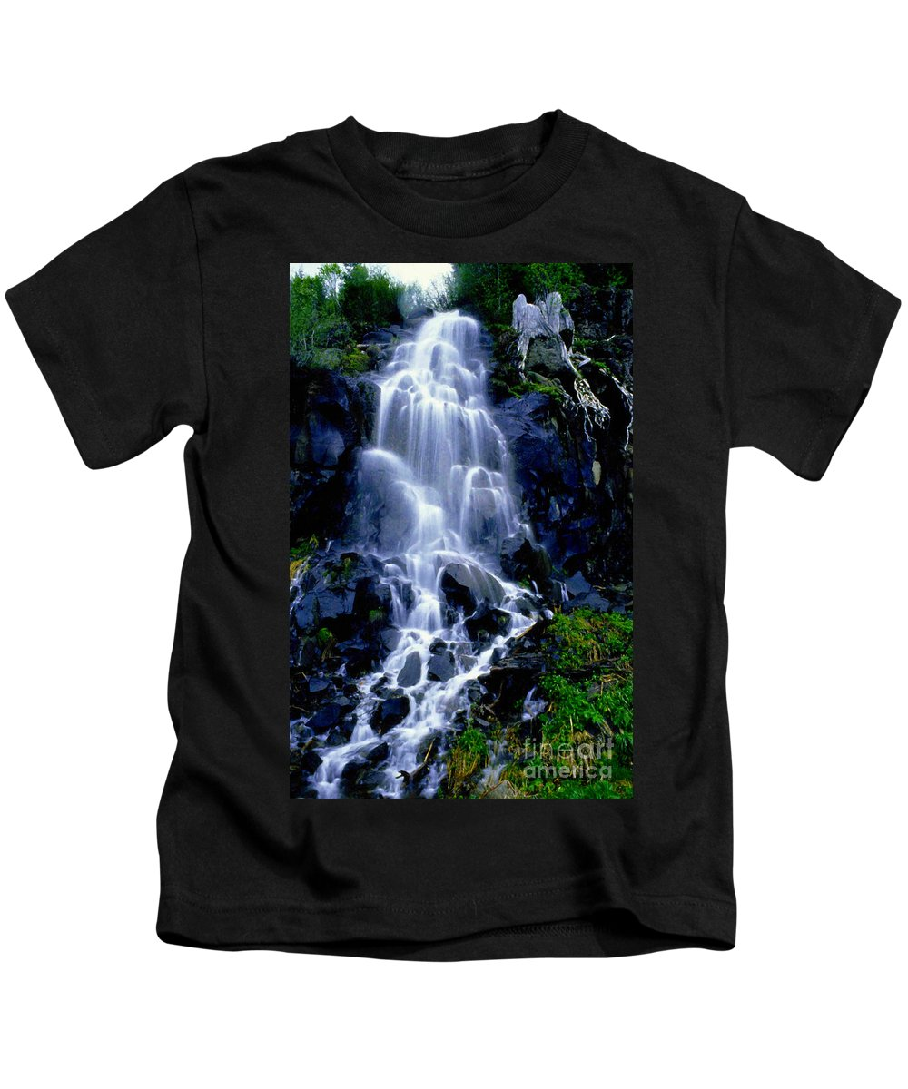 Waterfall Kids T-Shirt featuring the photograph Waterfall Flowing And Ebbing by R Muirhead Art