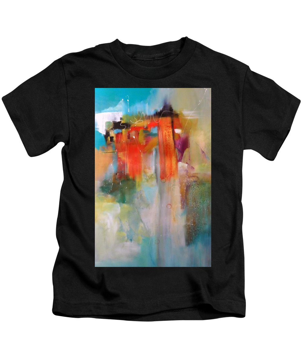 Abstract Original Canvas Acrylic Mixed Media Kids T-Shirt featuring the painting Waterfall by Nicholas Foschi