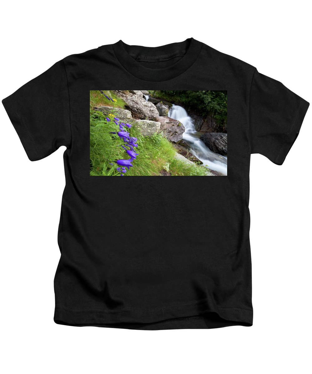 Wild Kids T-Shirt featuring the photograph Waterfalls And Bluebells by Mircea Costina Photography