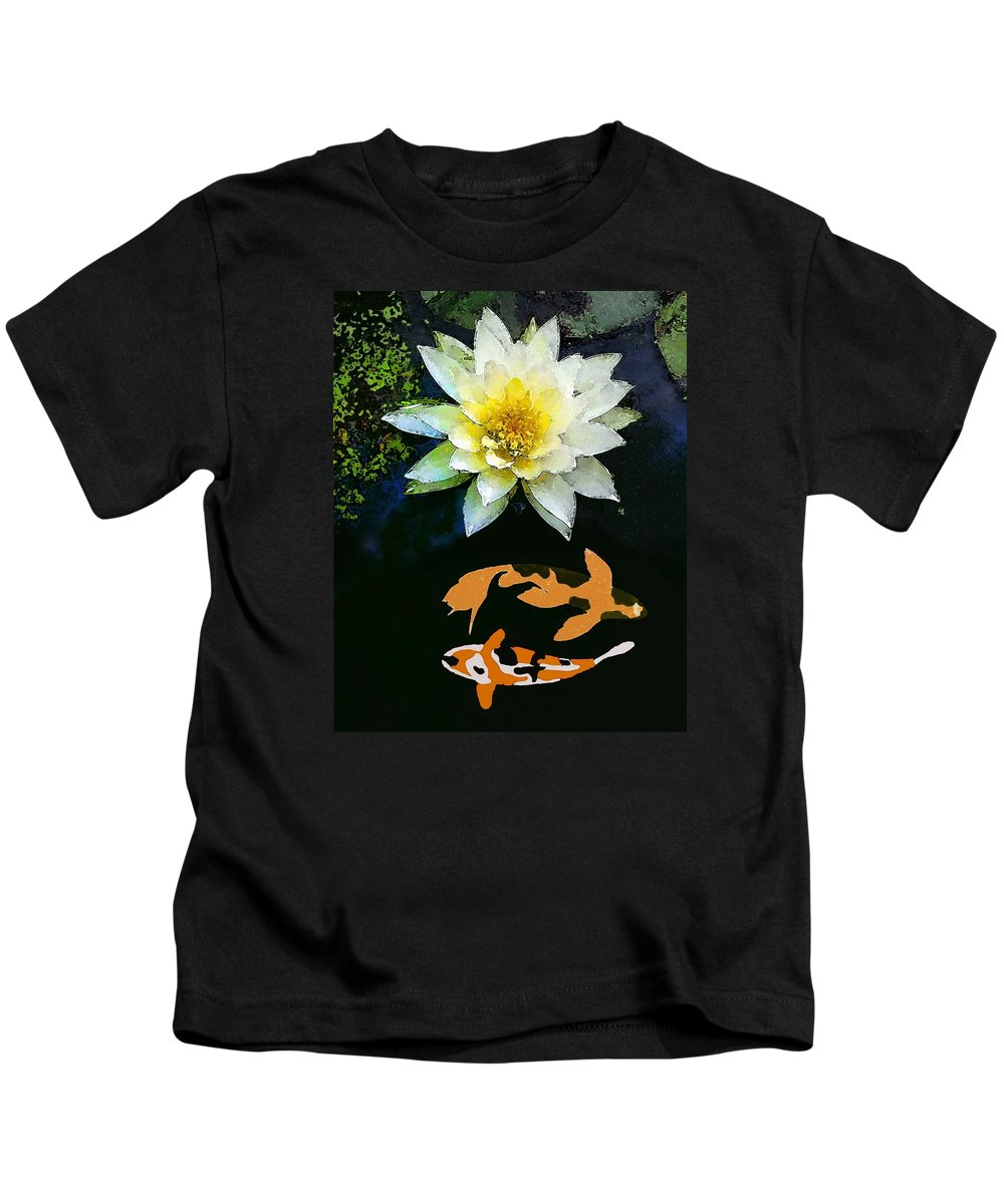 Waterlily And Koi Pond Kids T-Shirt featuring the painting Waterlily And Koi Pond by Priscilla Wolfe