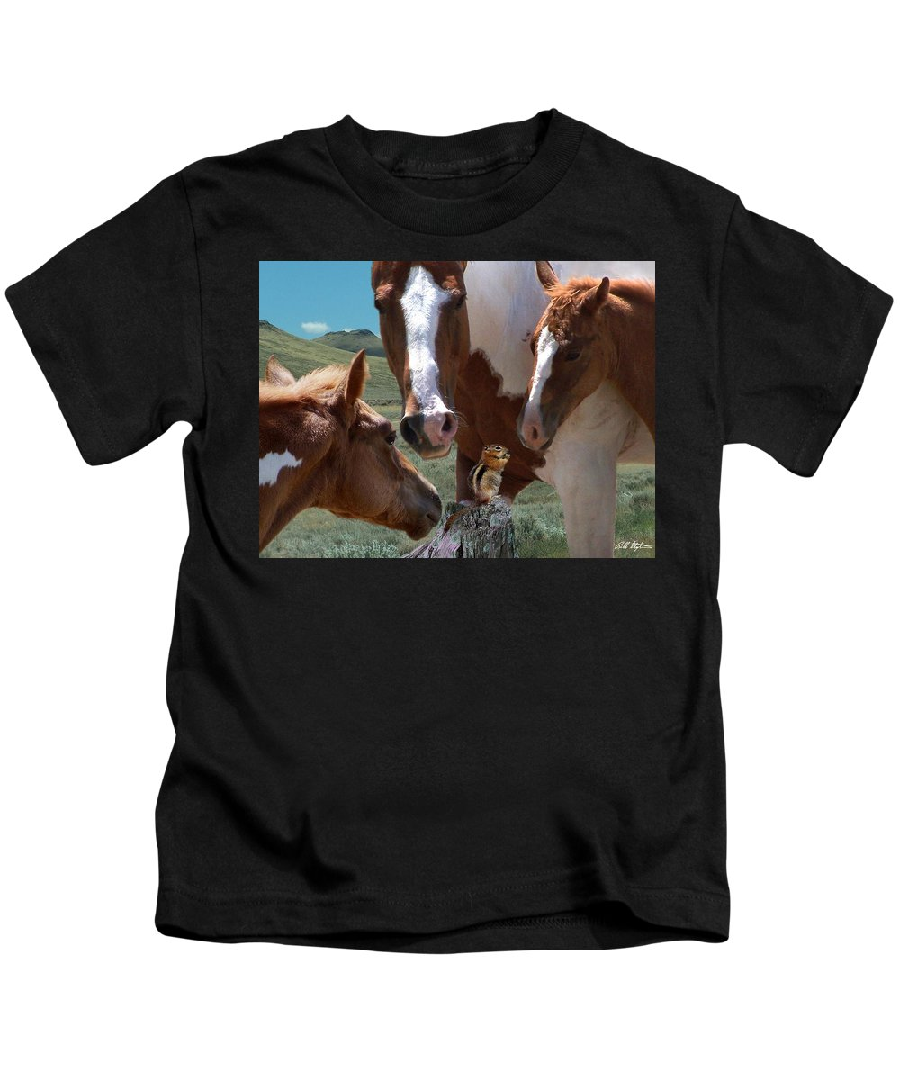 Horses Kids T-Shirt featuring the mixed media Watizit by Bill Stephens