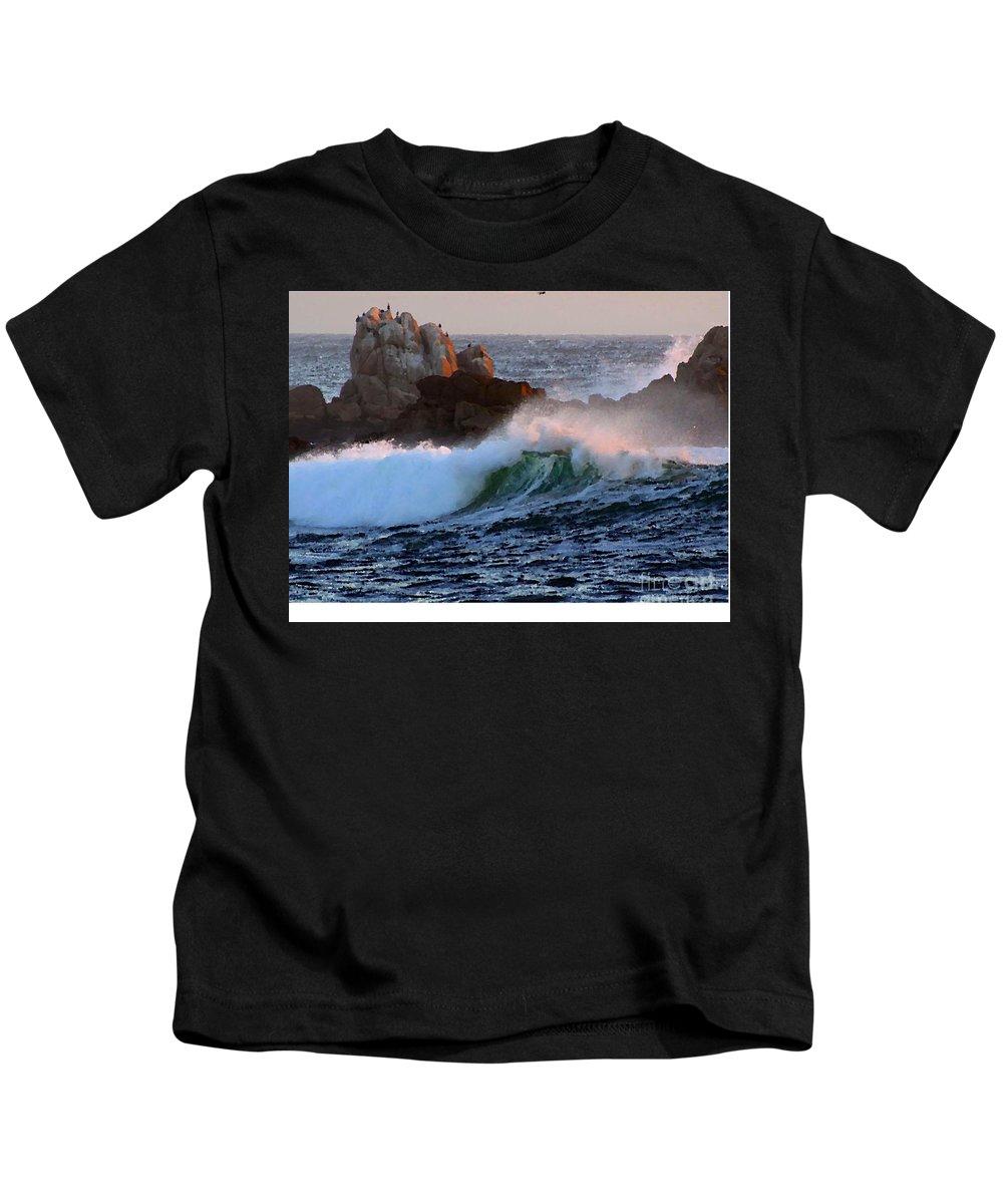 Waves Crash Against The Rocks Kids T-Shirt featuring the painting Waves Crash Against The Rocks by R Muirhead Art