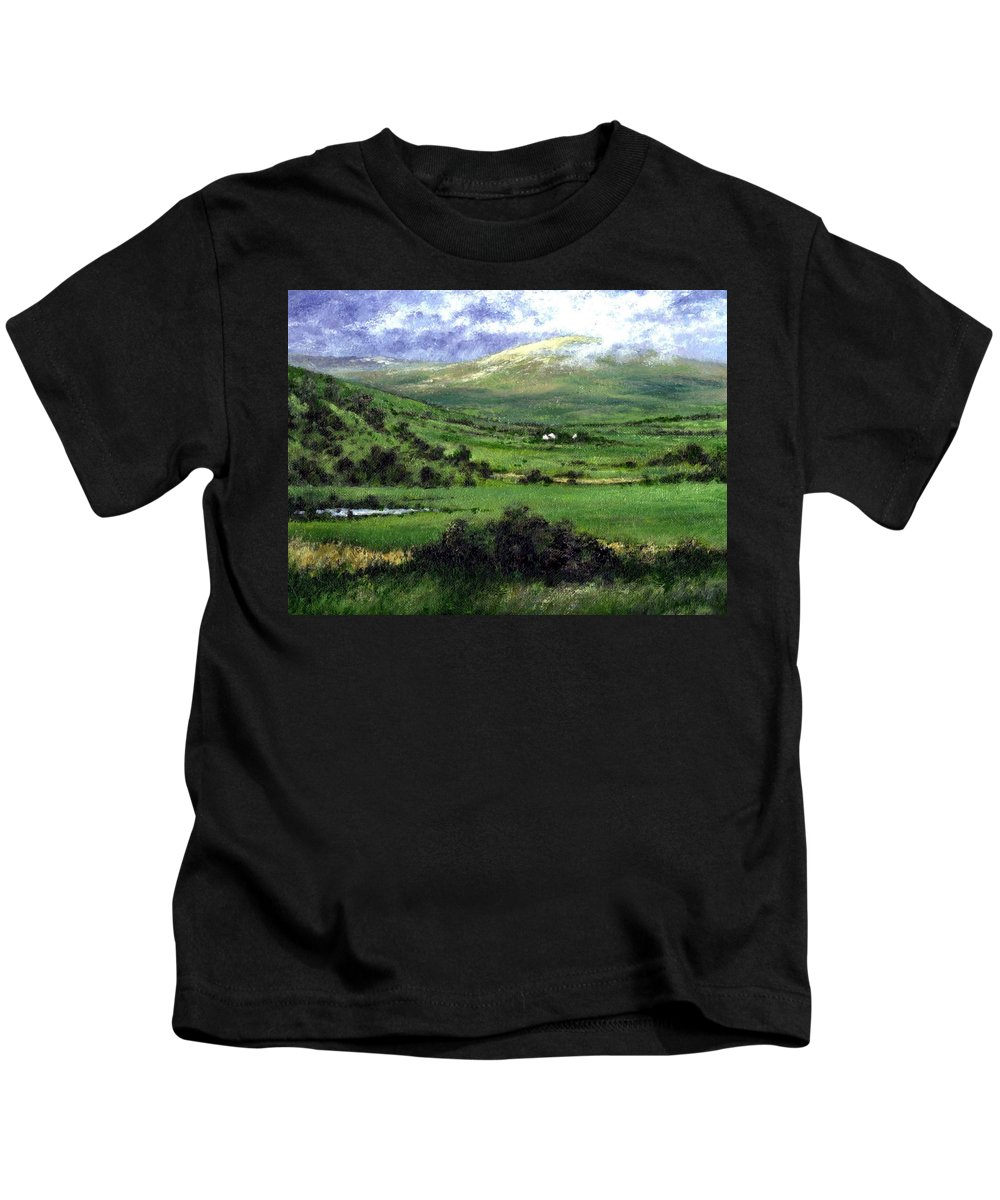 Landcape Kids T-Shirt featuring the painting Way To Ardara Ireland by Jim Gola