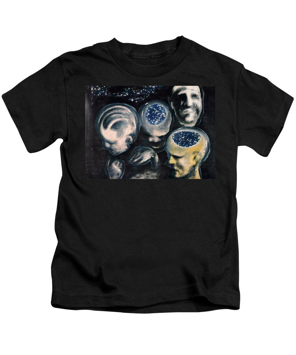 Universe Aura Thoughts Thinking Faces Mistery Kids T-Shirt featuring the mixed media We Are Universe by Veronica Jackson