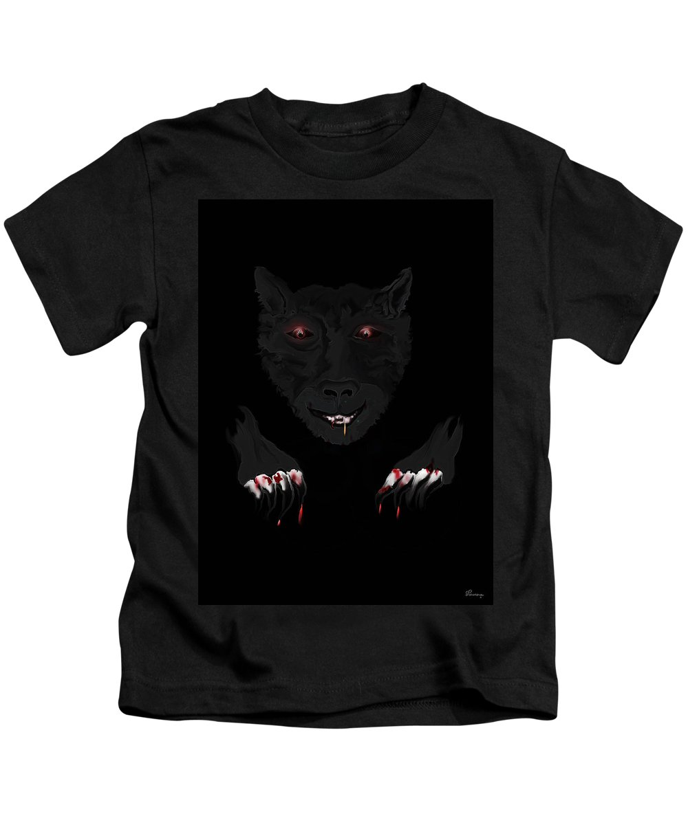 Wearwolf Wolf Scary Blood Eyes Haunting Black Claws Nails Fangs Kids T-Shirt featuring the digital art Wearwolf by Andrea Lawrence