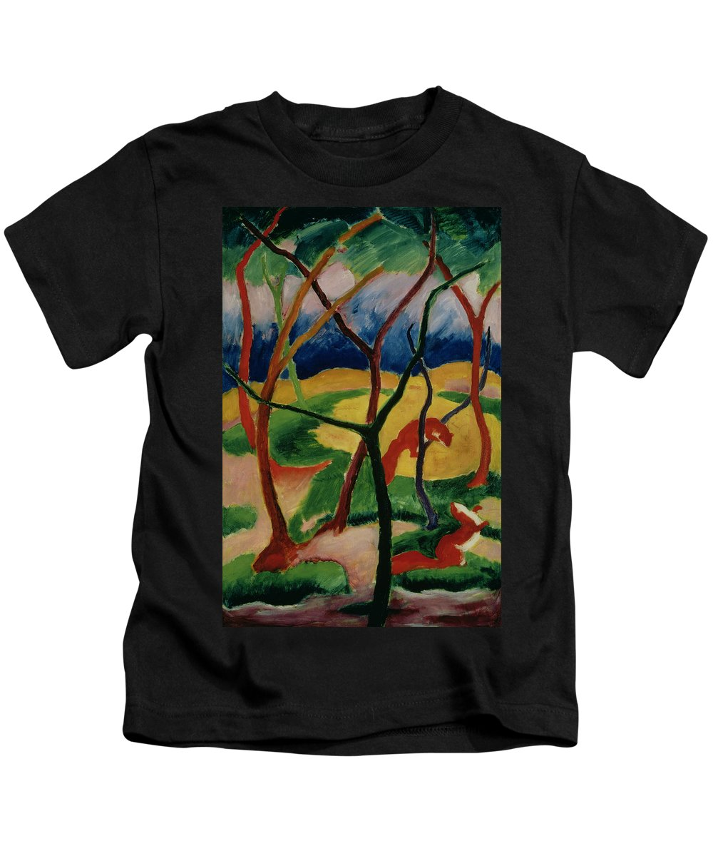 Weasels Kids T-Shirt featuring the painting Weasels Playing by Franz Marc