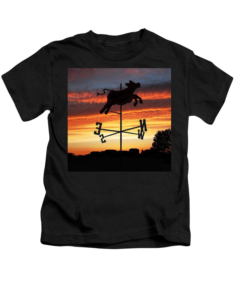 Sunrise Kids T-Shirt featuring the digital art Weather Vane by Gravityx9 Designs