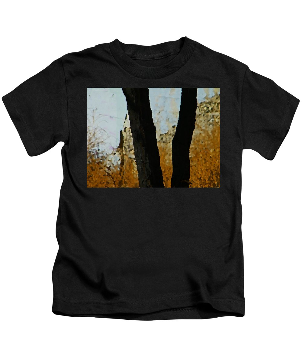 Abstract Kids T-Shirt featuring the digital art Weeds And Wall by Lenore Senior