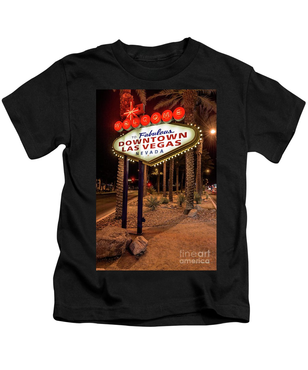 Welcome To Downtown Las Vegas Sign Kids T-Shirt featuring the photograph R.i.p. Welcome To Downtown Las Vegas Sign At Night by Aloha Art