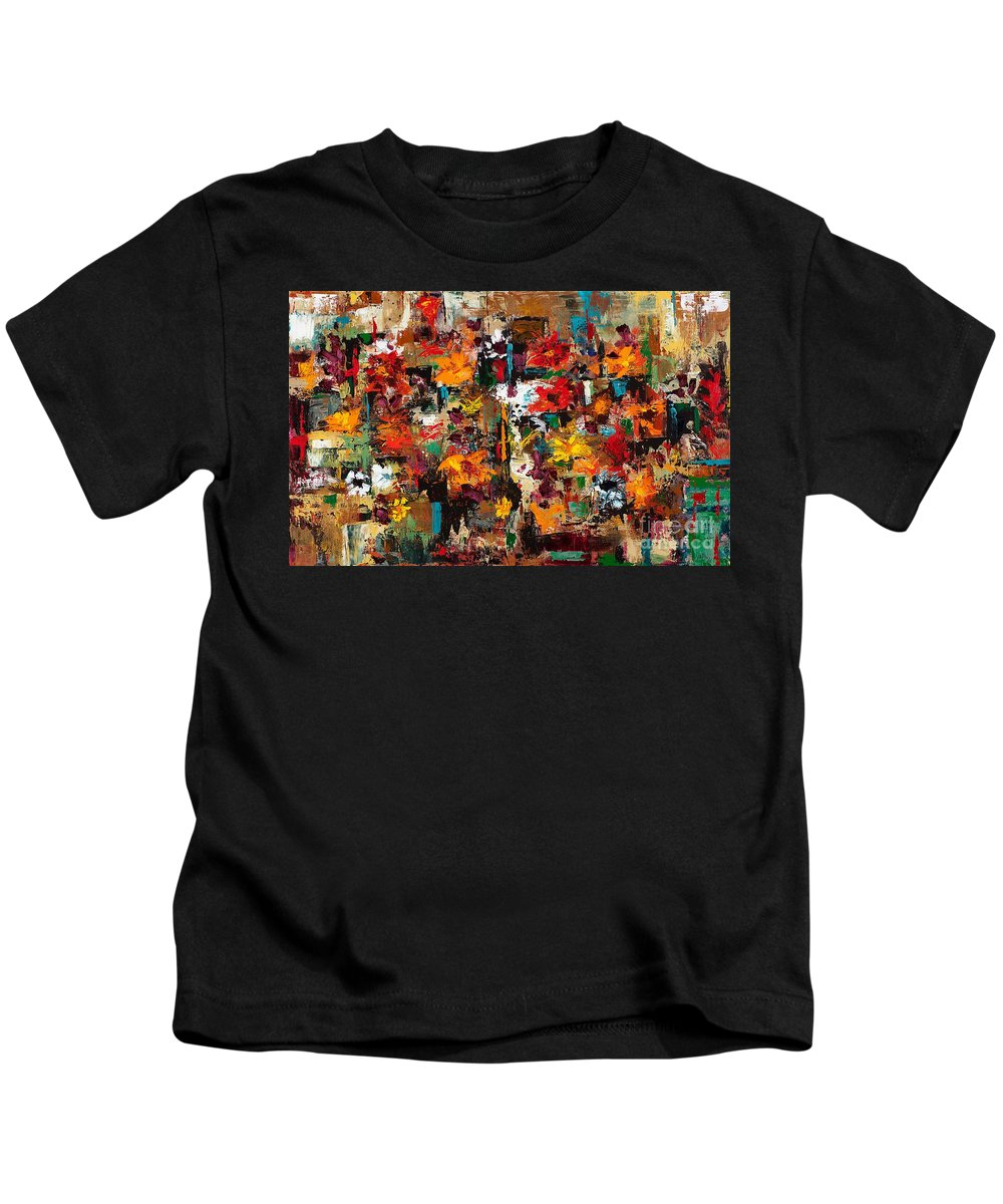 Abstract Flowers Kids T-Shirt featuring the painting Welcome To My Flower Garden by Frances Marino
