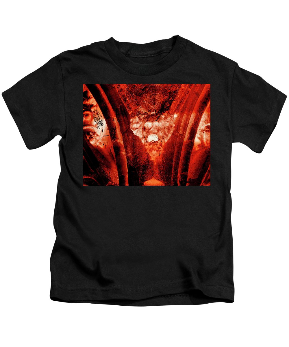 Aged Kids T-Shirt featuring the photograph Wells Cathedral Gargoyles Color Negative A by Jacek Wojnarowski