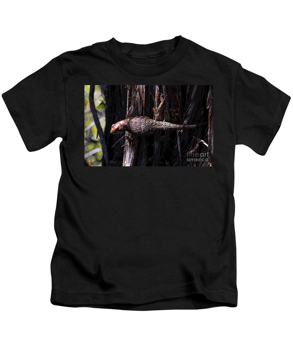 Art Kids T-Shirt featuring the painting Western Fence Lizard by David Lee Thompson