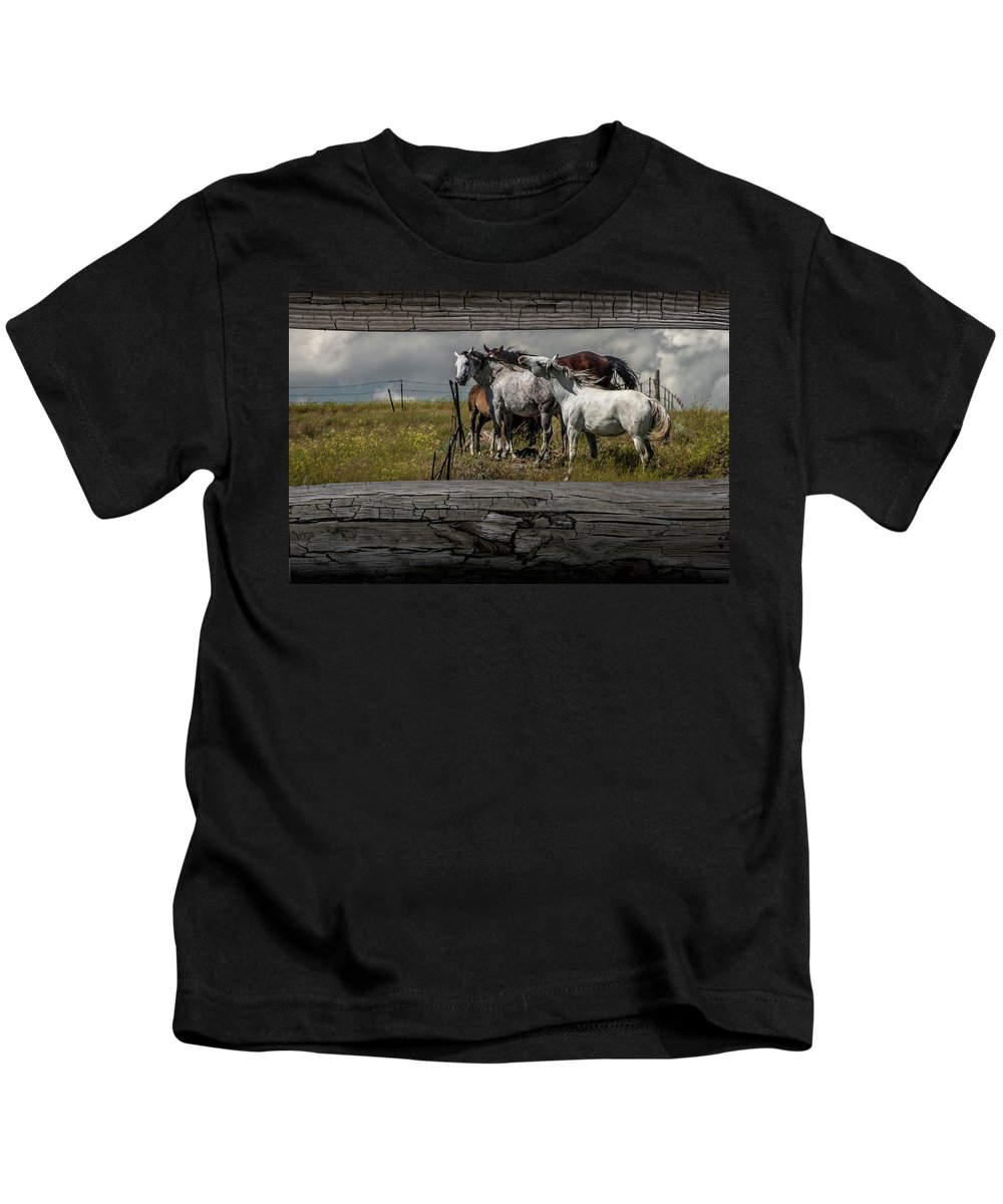 Horse Kids T-Shirt featuring the photograph Western Horses Through The Fence by Randall Nyhof