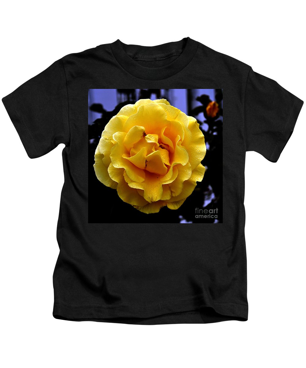Clay Kids T-Shirt featuring the photograph Wet Yellow Rose by Clayton Bruster