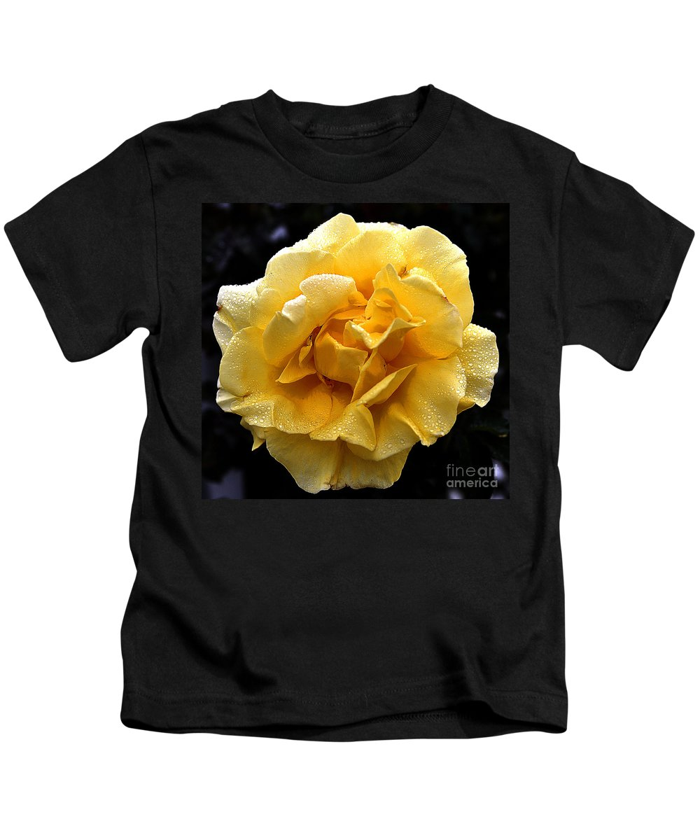 Clay Kids T-Shirt featuring the photograph Wet Yellow Rose II by Clayton Bruster