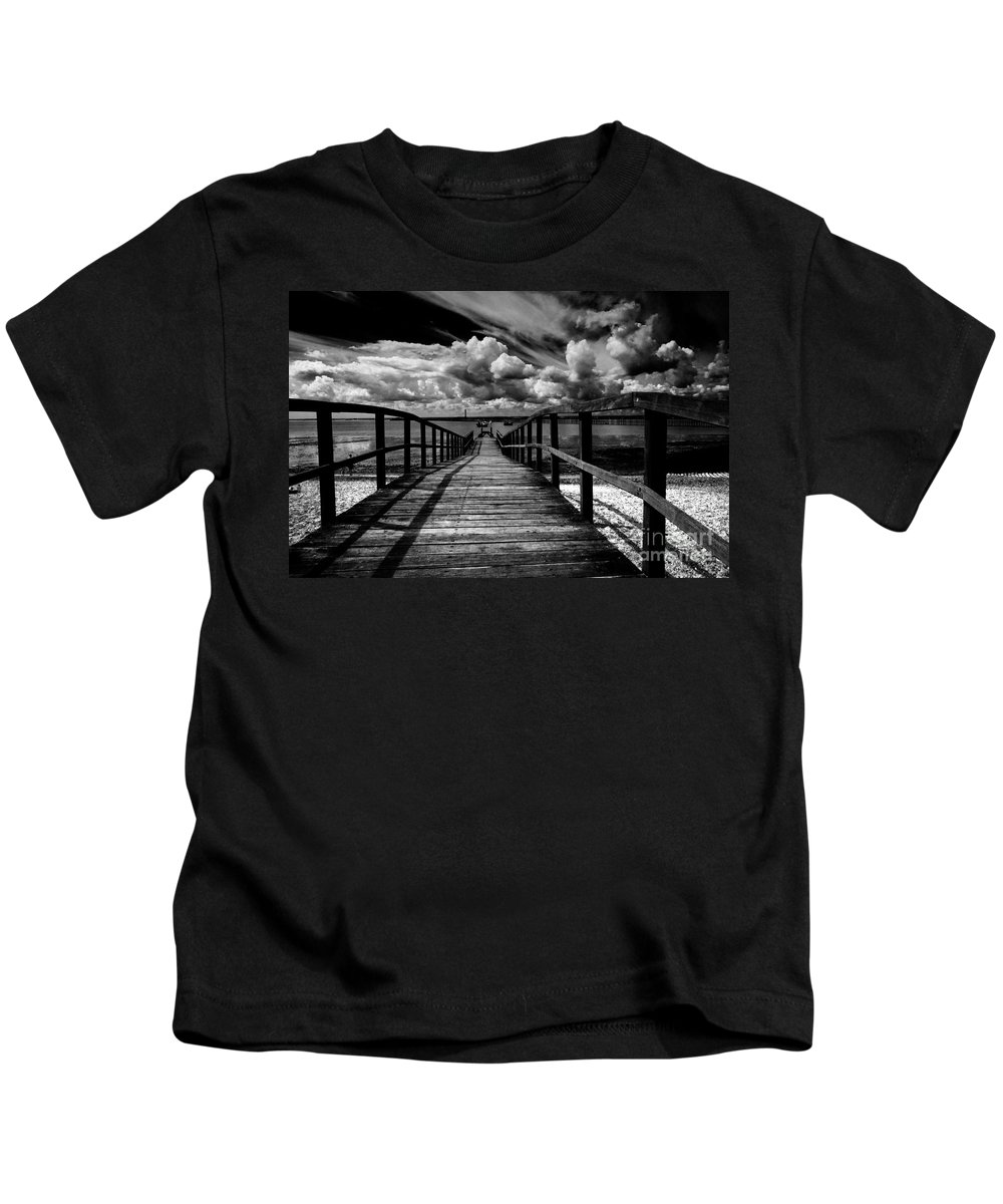 Southend On Sea Wharf Clouds Beach Sand Kids T-Shirt featuring the photograph Wharf At Southend On Sea by Sheila Smart Fine Art Photography