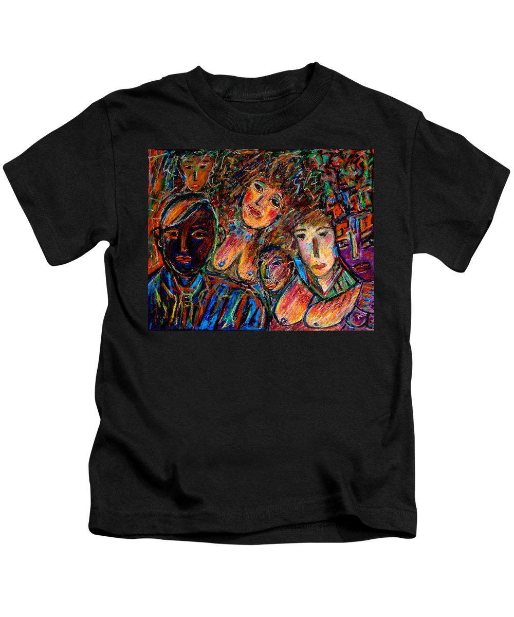 Figurative Art Kids T-Shirt featuring the mixed media What Are You Looking At-17 by Natalie Holland