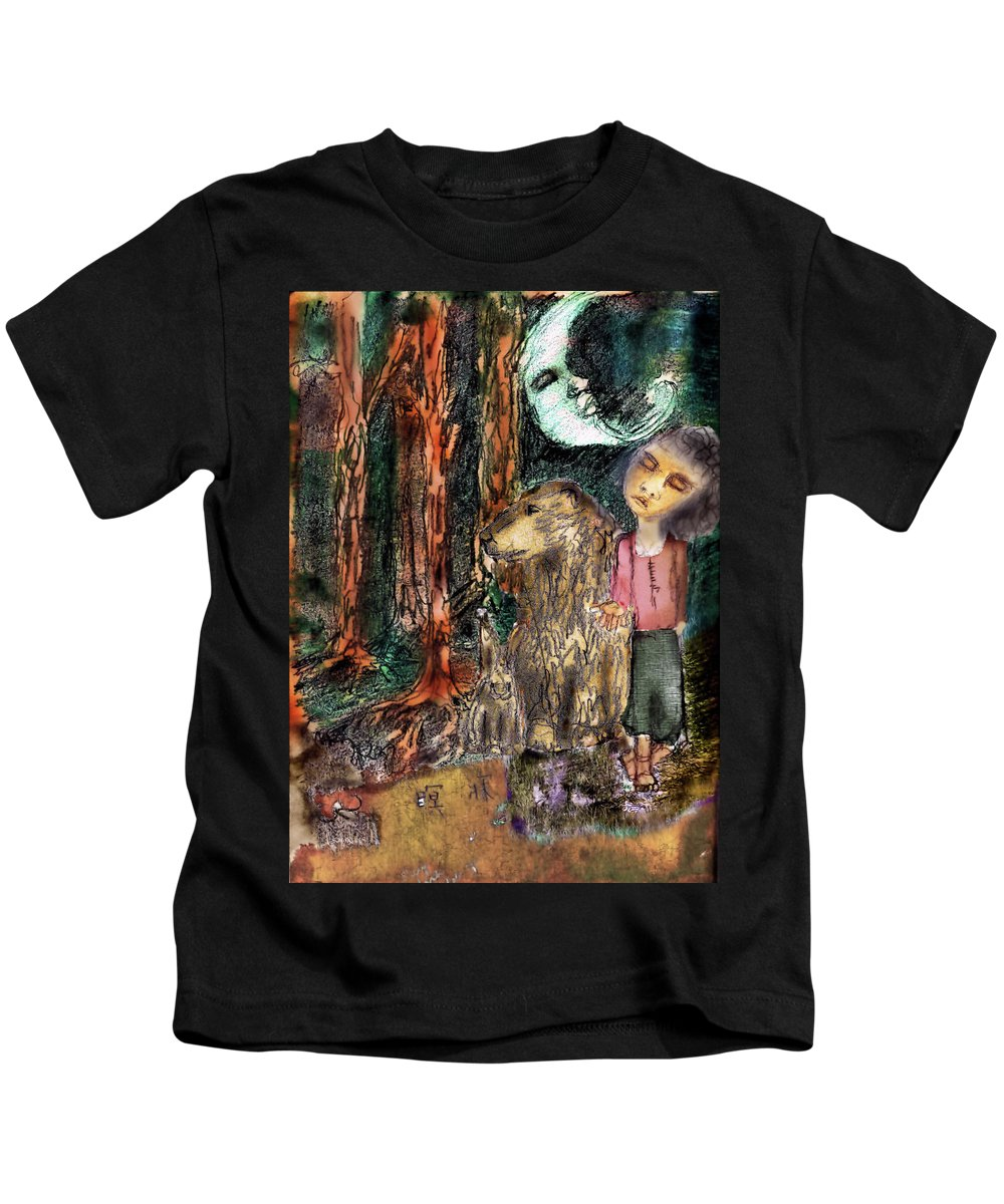 Girl Kids T-Shirt featuring the mixed media What Have We Done by Cynthia Richards