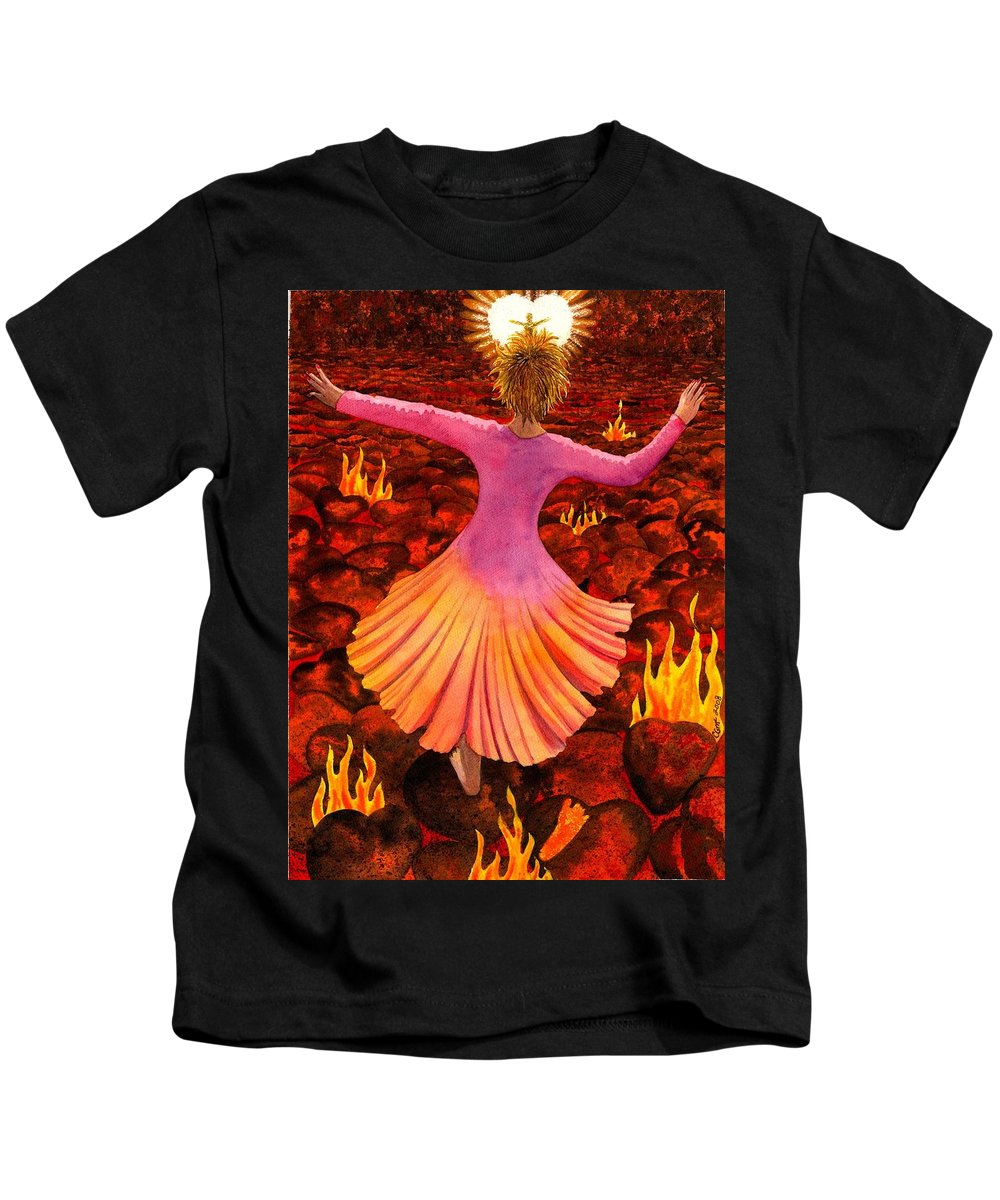 Valentine Kids T-Shirt featuring the painting What We Do For Love by Catherine G McElroy
